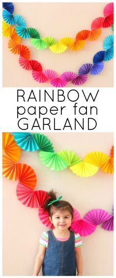 Rainbow Fan Garland {Easy DIY Party Decoration} - Ice Cream Off Paper Plates - - Rainbow fan garland that is so easy to make! You only need scissors, tape and paper to create this colorful DIY decoration for a rainbow theme party . Rainbow Fan, Rainbow Paper, Rainbow Theme, Rainbow Bunting, Diy Birthday Decorations, Birthday Diy, Paper Decorations, Diy Rainbow Party Decorations, Birthday Woman