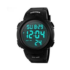 Aposon Mens Digital Waterproof Sport Watch with Outdoor Fashion Design, Electronic LED Display, 5ATM Water Resistant (164ft 50M), Multifunctional, Back Light, Alarm, Military 24H Time – Black  #164ft #5ATM #Alarm #Aposon #Back #Black #Design #Digital #Display #Electronic #fashion #Light #Men's #military #Multifunctional #Outdoor #Resistant #Sport #Time #Watch #Water #Waterproof MonitorWatches.com