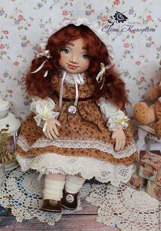 Купить Кукла текстильная. Василина кукла интерьерная с объемным личиком - бежевый, подарок девушке