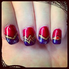 Close up of #Sparkletart #Wonder_Woman themed #manicure
