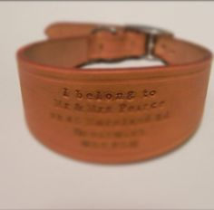 """Hand stamped whippet collar - 14"""" tan leather buckle collar"""