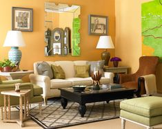"""This gorgeous color is Farrow & Ball's Orangery,"" says Williams. ""It is a beautiful combination of yellow and saffron and makes this room, which doesn't have much light, feel like the sun is shining every minute. A strong color in a small space gives it immediate character and makes a big impact."""