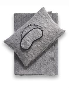 Sophia Cashmere travel blanket, eye mask, and pillow cover.                                                                                                                                                      More