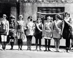 Contestants in the first Miss America pageant as they line up for the judges in Atlantic City, NJ. (September, 1921). Second from left is Margaret Gorman, who won the competition.