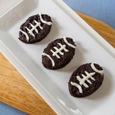 Look for healthy game-day foods? You'll love these 5 meatless recipes (like these Chocolate Pumpkin Football Brownies). #football #healthyrecipes #gamedayrecipes #everydayhealth | everydayhealth.com