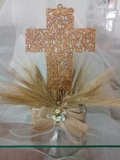 Centro de mesa Primera Comunión Boy Baptism Centerpieces, Baptism Party Decorations, Communion Centerpieces, First Communion Decorations, First Communion Favors, First Communion Dresses, First Holy Communion, Ideas Bautizo, Baby Baptism