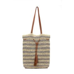 Straw-Woven Striped Lined Beach Bag in Grey with Tassel Drawstring