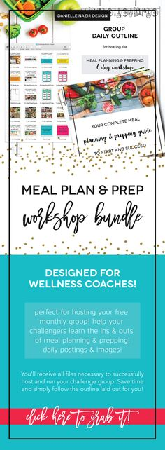 6 Day Meal Planning and Meal Prepping Workshop Coach Bundle Kit! This challenge group kit is designed to help you help your clients learn how to meal plan and meal prep to succeed! Lays out the benefits and tips to meal planning and meal prepping. Jam packed with helpful information to get anyone started on their clean eating journey and to stick with it! // challenge group // meal planning challenge // meal prepping challenge // wellness coach resource // beachbody coach / meal plan / food…