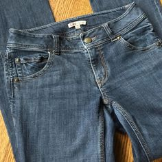 """Just in CAbi jeans CAbi jeans in size 4. Material is 99% cotton, 1% spandex. Waist flat 30"""", inseam 30"""", front rise 8"""".  Style #638R. Bootcut with flap pockets in back. Great condition, no wear on cuffs. Medium blue color. CAbi Jeans Boot Cut"""