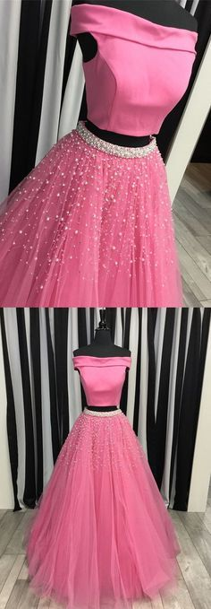 Prom Dress Princess, two piece off the shoulder watermelon long prom dress, 2018 prom dress with white pearls Shop ball gown prom dresses and gowns and become a princess on prom night. prom ball gowns in every size, from juniors to plus size. Pageant Dresses For Teens, Prom Dresses Long Pink, Elegant Bridesmaid Dresses, Prom Dresses 2018, Prom Dresses For Sale, Tulle Prom Dress, Trendy Dresses, Party Dress, Quinceanera Dresses