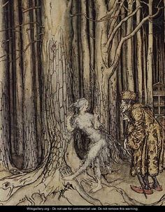 At last she met the bridegroom who was slowly coming back, illustration for Fitchers Bird, from Little Brother, Little Sister, by the Brothers Grimm, 1917 - Arthur Rackham