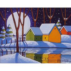 Trademark Fine Art 'Reflection Winter Night' Canvas Art by Cathy Horvath-Buchanan, Size: 35 x Black Canvas Artwork, Canvas Frame, Quilt Modernen, Winter Night, Winter Moon, Henri Rousseau, Naive Art, Pics Art, Pictures To Paint