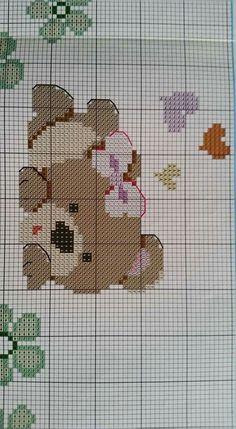 Baby Cross Stitch Patterns, Cute Cross Stitch, Cross Stitch Charts, Filet Crochet, Crochet Yarn, Crochet Stitches, Cross Stitching, Cross Stitch Embroidery, Cross Stitch Beginner