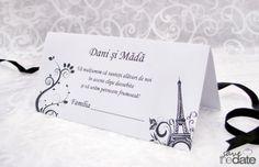 "Plic de bani alb-negru ""Paris"". Place Cards, Place Card Holders, Wedding, Themed Parties, Invitations, Mariage, Weddings, Marriage, Chartreuse Wedding"