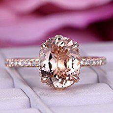 Amazon.com: Oval Morganite Engagement Ring Trio Bridal Set Pave Diamond Wedding 14K Rose Gold 10x12mm: Handmade