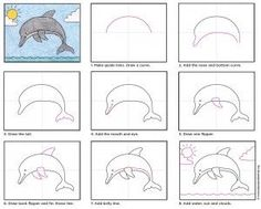 Dolphin How to draw a dolphin tutorial // Cómo dibujar un delfín Drawing Tips how to draw a dolphin Art Drawings For Kids, Drawing For Kids, Easy Drawings, Art For Kids, Drawing Classes For Kids, Drawing Drawing, Kid Art, Drawing Tips, Dolphin Drawing
