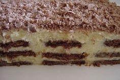 Sütés nélkül is készíthetsz finom édességet, ami tele van krémmel és nagyon csokis! Vigyázat, nagyon gyorsan elfogy!  Hozzávalók:  45 dkg kakaós keksz 2 csomag Aranka…