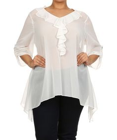 Another great find on #zulily! White Ruffle Handkerchief Tunic - Plus #zulilyfinds