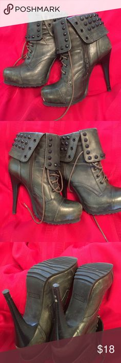 Heeled booties 4 inch heels lace front studded collar lace up front lots of great details very nice condition bronx Shoes Ankle Boots & Booties