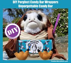 DIY Porg Candy Bar Wrapper - Star Wars Porgs Party or Gift Modeled by none other than the world famous Mara Jade Porgwalker Find wrappe. Party Models, Mara Jade, Types Of Candy, Candy Bar Wrappers, Star Wars Party, Birthday Crafts, Party Planning, Teddy Bear, Stars