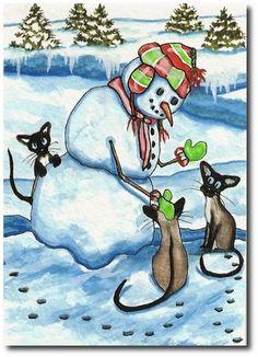 Snowman Mittens Siamese Cats Art Original Painting ACEO | eBay