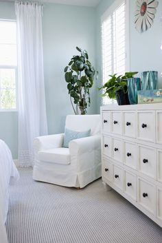 Choose calming colors to give your bedroom a relaxing vibe.
