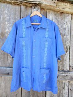 80s/90s Blue Guayabera Shirt by Tropi Cool, Men's L-XL // Rockabilly Shirt