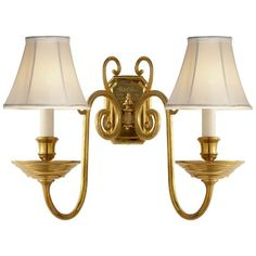 Lillianne Double Sconce in Natural Brass - Wall Lamps / Sconces - Lighting - Products - Ralph Lauren Home - RalphLaurenHome.com