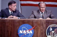 https://flic.kr/p/mFp8eU | Apollo 11 Pre-Flight Press conference, Johnson Space Center, TX, July 5, 1969 | NASA INFO: The three prime crewmen of the Apollo 11 lunar landing mission participate in a pre-flight press conference in the bldg 1 auditorium on July 5, 1969. Left to right, are Astronauts Neil A. Armstrong, commander; Edwin E. Aldrin Jr., lunar module pilot; and Michael Collins, command module pilot. The box-like enclosure surrounding the three astronauts was part of elaborate…
