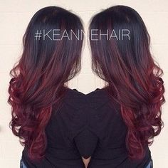 Cherry Bombre Hair: The New Low Maintenance Hair Color Brunettes Would Love - Hana Red Ombre Hair, Black Cherry Ombre Hair, Red Balayage Hair Burgundy, Brown To Red Ombre, Cherry Red, Dark Brown, Red Bayalage, Brown To Red Hair, Red Balayage Highlights