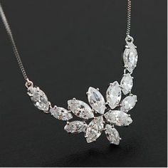 Graceful Marquise Crystal Ice Star Box Chain Necklace