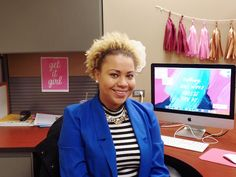 wearing natural hair in the office.