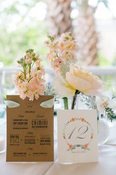 Spring wedding stationery idea - white table numbers with floral motif and flower centerpiece {Riverland Studios}