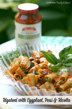 Rigatoni with Eggplant, Peas & Ricotta. #FallForFlavor with Mezzata Napa Valley Homemade Pasta Sauces. An easy meal so you can spend time with your family. /mezzetta/