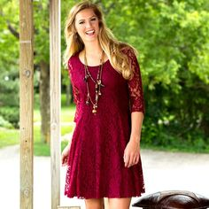 Wine And Roses Lace Dress $59.95 Rods.com