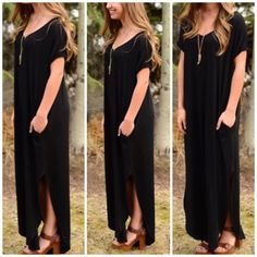 Black Side Slit Maxi Dress You will love this uber soft LONG DRESS WITH POCKET AND SIDE OPEN DETAIL. Runs loose so you can size down if you want a more narrow silouhette . Comment for the color you would like . Coral, mint and black Sizes S M L . Nwot . Rayon and spandex blend . Made in USA Vivacouture Dresses Maxi