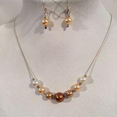 Sterling Silver 925 Copper Colors F Pearls Bead Necklace Dangle Pierced Earrings | eBay