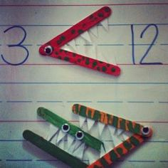 Super cute idea. Students could make their own math monsters with popsicle sticks.