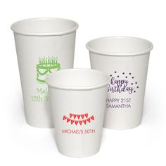 Personalized Paper Party Cups for Birthdays