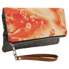 #personalize - #Digital Art Red Yellow Abstract Pattern Clutch