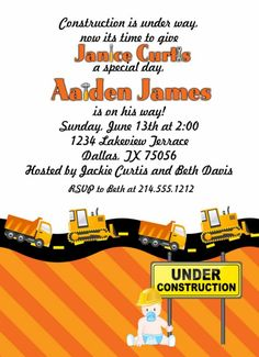 Construction Themed Baby Shower Invitation or Birthday Invitation