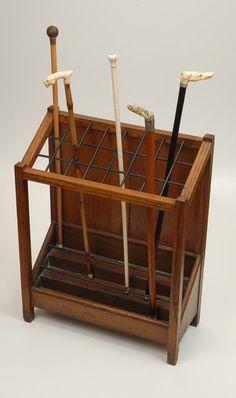 Antique A Mission Oak stick stand