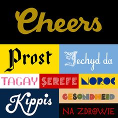 """Michael Buchino / hand-lettering """"toast"""" in different laguages for a forthcoming poster"""
