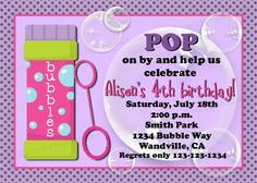 Girl or Boy Options Bubble Birthday Party Invitation with Photo Option Print Your Own 5x7 or 4x6. $6.25, via Etsy.