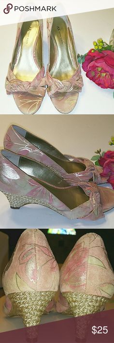 """{Anne Klein} Pink & Gold Heels Adorable gold and blush pink heels by Anne Klein. Another pair just sitting in my closet I barely used. Suede Leather with gold flower and leaf designs. The back of the heel has gold rope as a design. In good used condition with normal wear. Heel size about 3"""" Anne Klein Shoes Heels"""