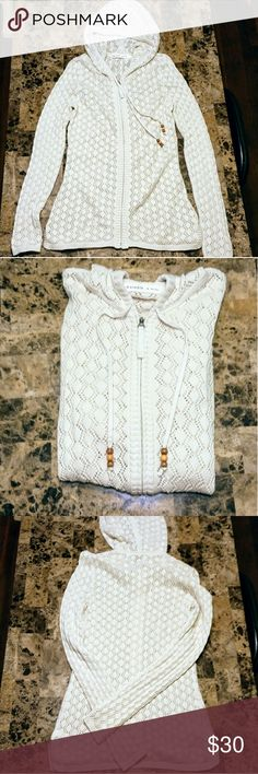Athleta Hooded Knitted Zip Up Athleta Hooded Knitted Zip Up. Color is cream. Lightweight and breathable. Gorgeous and the condition is excellent. Worn once.  Size Medium. Athleta Tops Sweatshirts & Hoodies