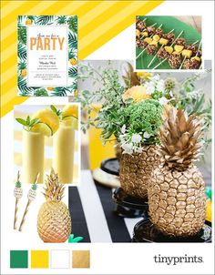 Whether you are hosting a pool party or a backyard luau, we've created an assortment of fun pineapple drinks, decor, and snack ideas to inspire you to host a spectacular party this summer. #party