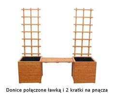 Donice połączone ławką i 2 kratki na pnącza