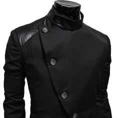 Amazon.com: TheLees Mens casual china collar rider style slim blazer jacket: Clothing