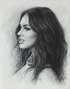 Megan Fox Drawing Portrait by Dry Brush Pencil Portrait Drawing, Fox Drawing, Realistic Pencil Drawings, Cool Drawings, Painting & Drawing, Drawing Portraits, Pencil Art, Celebrity Drawings, Celebrity Portraits